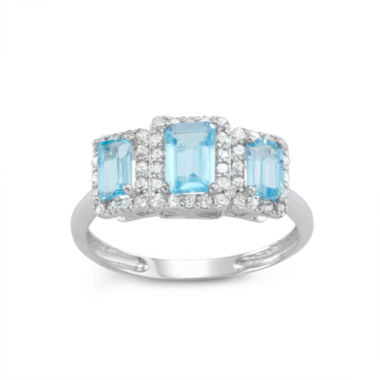 jcpenney.com | Genuine Swiss Blue Topaz And 1/3  C.T. T.W. Diamond 10K White Gold Ring