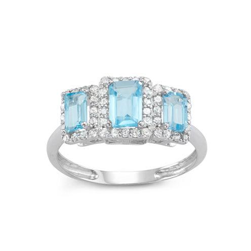 Genuine Swiss Blue Topaz And 1/3 C.T. T.W.Diamond 10K White Gold Ring