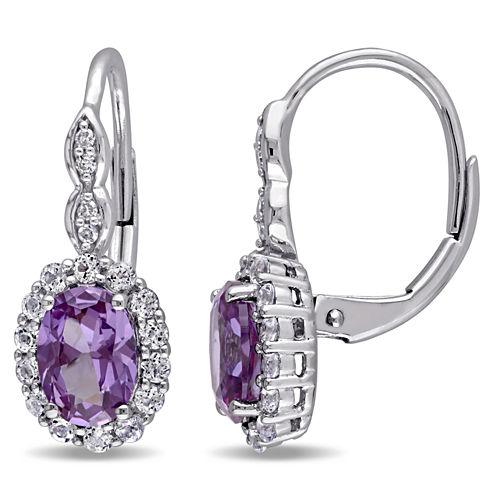 Diamond Accent Purple Alexandrite 14K Gold Drop Earrings