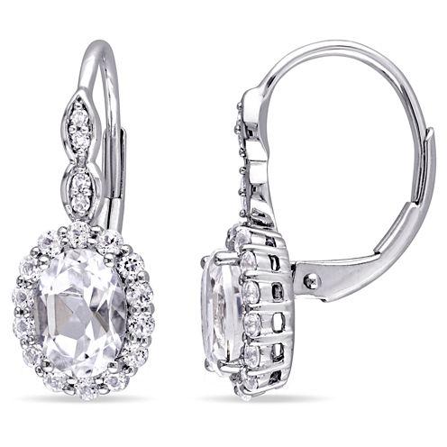 Diamond Accent White Topaz 14K Gold Drop Earrings