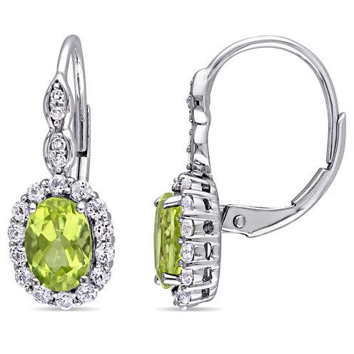 Diamond Accent Green Peridot 14K Gold Drop Earrings