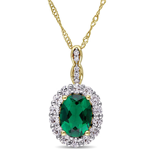 Womens Diamond Accent Green Emerald 14K Gold Pendant Necklace