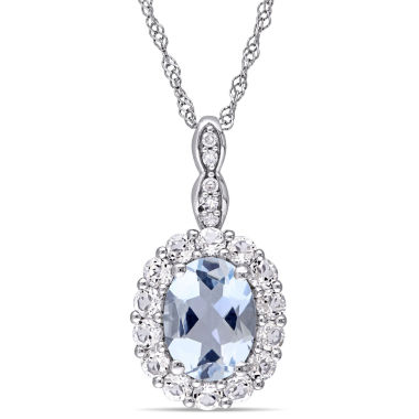 jcpenney.com | Womens Diamond Accent Blue Aquamarine 14K Gold Pendant Necklace