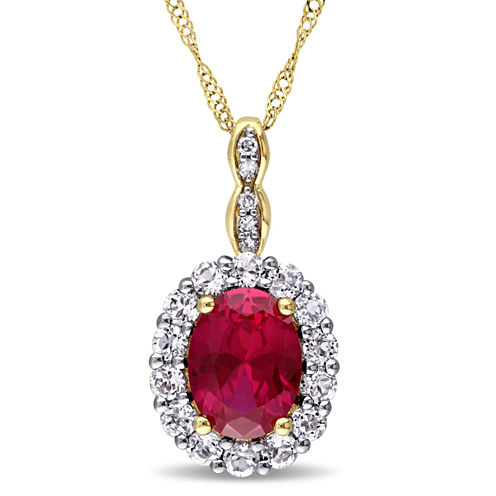 Womens Lab-Created Red Ruby and Diamond Accent Pendant Necklace in 14K Gold