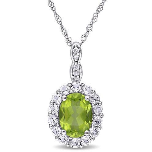 Womens Diamond Accent Green Peridot 14K Gold Pendant Necklace
