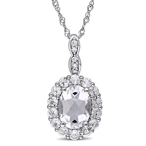 Womens Diamond Accent White Topaz 14K Gold Pendant Necklace