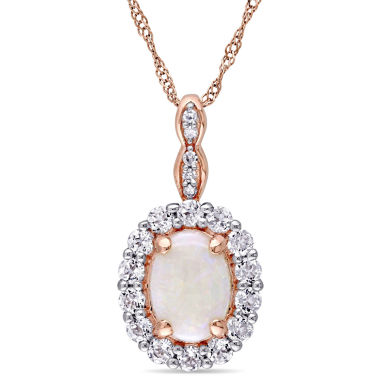 jcpenney.com | Womens Diamond Accent Pink Opal 14K Gold Pendant Necklace