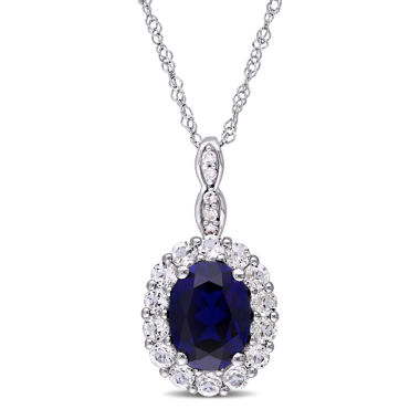 jcpenney.com | Womens Diamond Accent Blue Sapphire 14K Gold Pendant Necklace