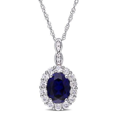 Womens Diamond Accent Blue Sapphire 14K Gold Pendant Necklace