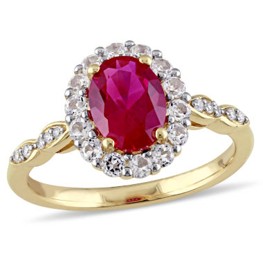 jcpenney.com | Lab-Created Red Ruby and Diamond Accent  Cocktail Ring in 14K Gold