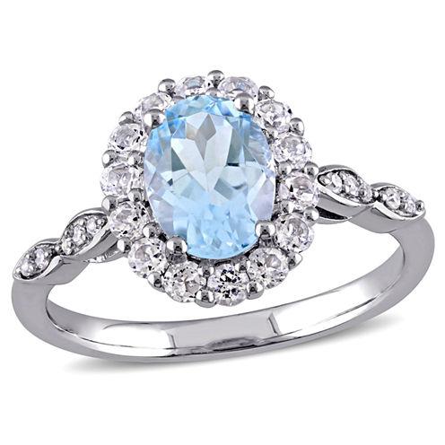 Womens Diamond Accent Genuine Blue Topaz 14K Gold Cocktail Ring