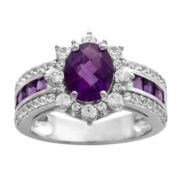 Womens Purple Amethyst Sterling Silver