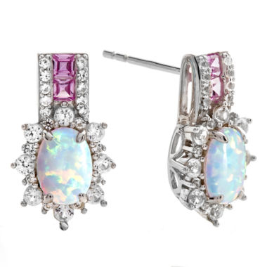 jcpenney.com | Lab Created Opal & Pink And White Sapphire Sterling Silver Earrings