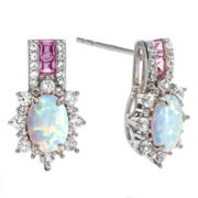 Lab Created Opal & Pink And White Sapphire Sterling Silver Earrings