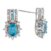 Genuine Blue Topaz & Lab Created White Sapphire Sterling Silver Earring
