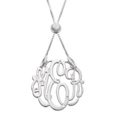 jcpenney.com | Personalized Silver Petite Adjustable Monogram Pendant Necklace