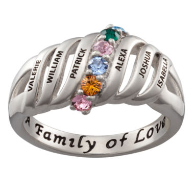 jcpenney.com | Personalized Silver Crystal Birthstone Family Ring