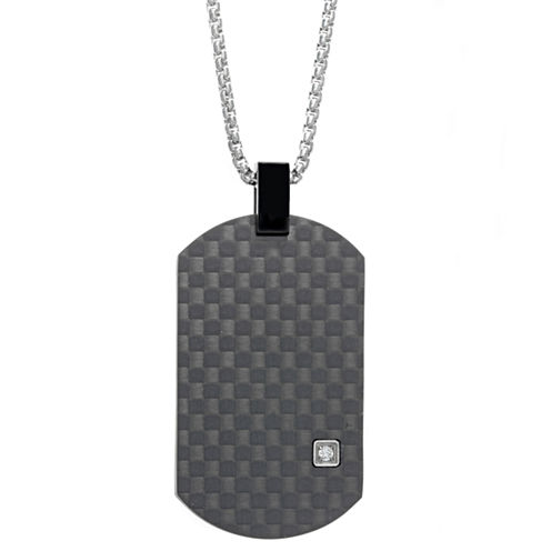 Mens White Cubic Zirconia Stainless Steel Pendant Necklace