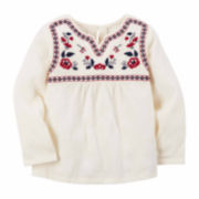 Carter's Girl Ivory Red Woven Fashion Top 4-8