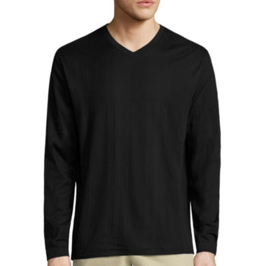 jcpenney.com | Claiborne Drop Needle Long Sleeve V Neck T-Shirt