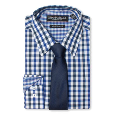 jcpenney.com | GRAHAM & CO. 2 COLOR GINGHAM DRESS SHIRT AND TIE