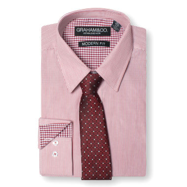 jcpenney.com | GRAHAM & CO. STRIPE DRESS SHIRT AND TIE