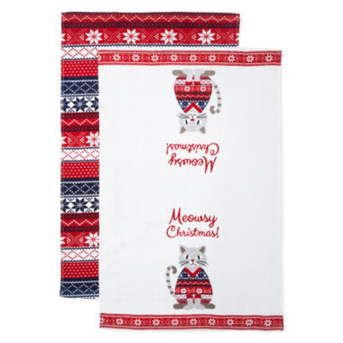 jcpenney.com | North Pole Trading Co Meowsy Christmas 2-pc. Kitchen Towel