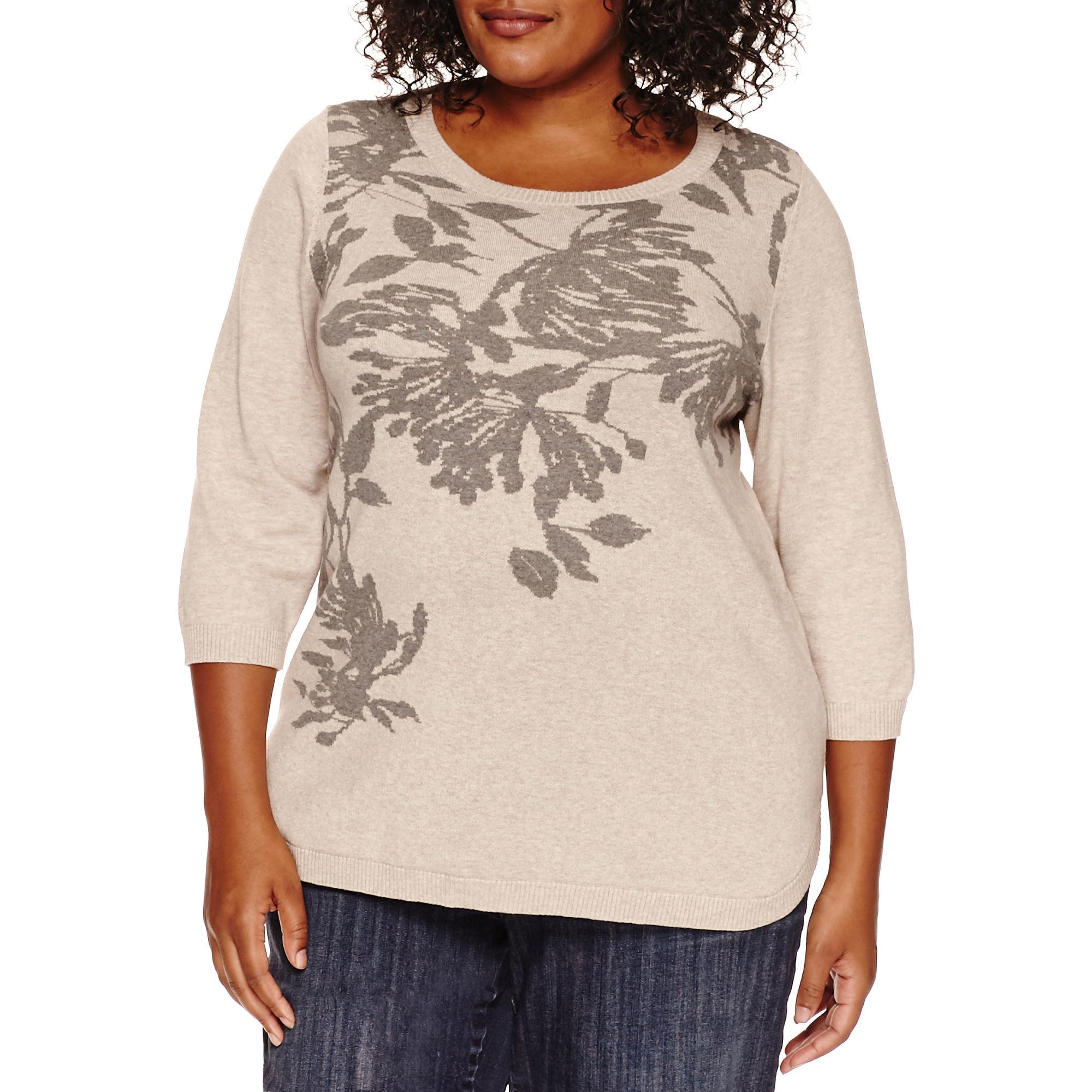 St. John's Bay Long Sleeve Crew Neck Pullover Sweater-Plus