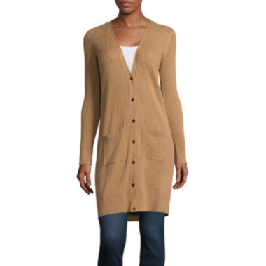 jcpenney.com | Stylus™ Long-Sleeve Ribbed Button-Front Cardigan - Tall