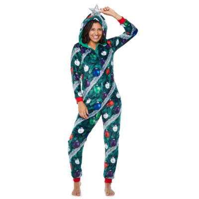 Christmas Tree Onesie.Peace Love And Dreams Womens Juniors Onesie Pajama Long Sleeve Hooded Neck