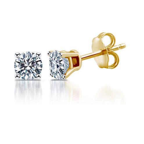 Deluxe 1/2 CT. T.W. Round White Diamond 14K Gold Stud Earrings