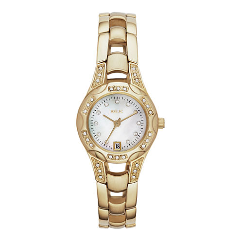 Relic® Charlotte Womens Gold-Tone Crystal-Accent Watch ZR12054