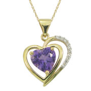 10K Yellow Gold Genuine Amethyst & Lab-Created White Sapphire Heart Necklace