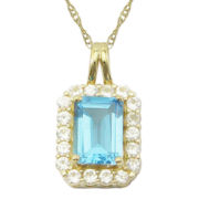 10K Yellow Gold Genuine Blue Topaz & Lab-Created White Sapphire Pendant Necklace