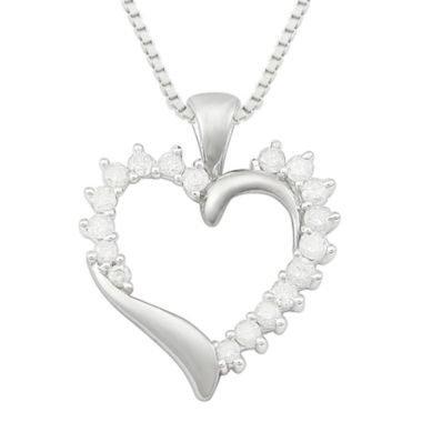jcpenney.com | ½ CT. T.W. Diamond 10K White Gold Heart Pendant Necklace