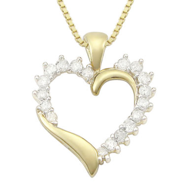 jcpenney.com | ½ CT. T.W. Diamond 10K Yellow Gold Heart Pendant Necklace
