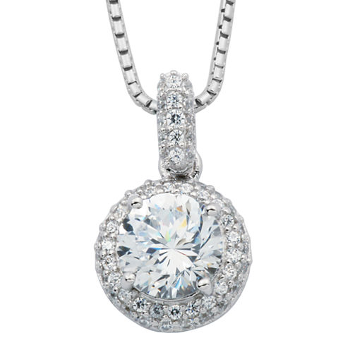 100 Facets by DiamonArt® Cubic Zirconia & Diamond-Accent Framed Pendant Necklace