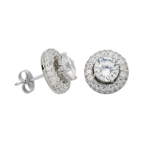 100 Facets by DiamonArt® Cubic Zirconia Halo Stud Earrings