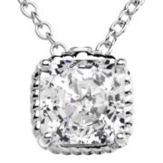 100 Facets by DiamonArt® Framed Square Cubic Zirconia Pendant Necklace