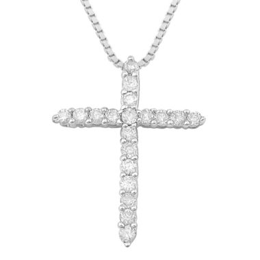 jcpenney.com | ¼ CT. T.W. Diamond Sterling Silver Cross Pendant Necklace
