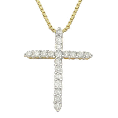 jcpenney.com | ¼ CT. T.W Diamond Cross 14K Yellow Gold-Plated Sterling Silver Pendant Necklace
