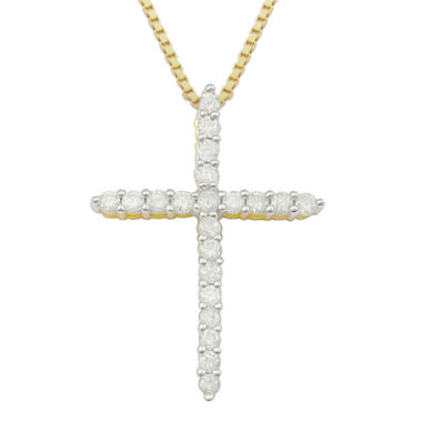 jcpenney.com | ½ CT. T.W. Diamond Cross 14K Yellow Gold Over Sterling Silver Pendant Necklace