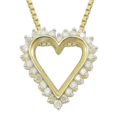 jcpenney.com | 1/10 CT. T.W Diamond Heart 14K Yellow Gold Over Sterling Silver Pendant Necklace
