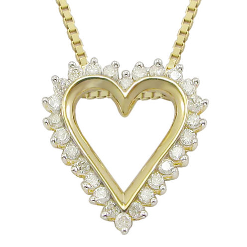 1/10 CT. T.W Diamond Heart 14K Yellow Gold Over Sterling Silver Pendant Necklace