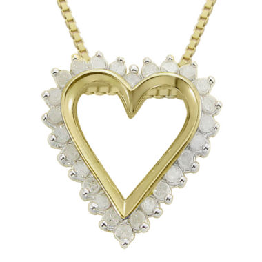 jcpenney.com | ¼ CT. T.W. Diamond Heart 14K Yellow Gold Over Sterling Silver Pendant Necklace