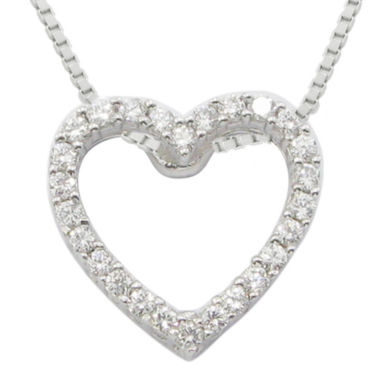 jcpenney.com | ¼ CT. T.W. Diamond Heart Sterling Silver Pendant Necklace