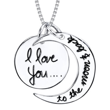 "jcpenney.com | Inspired Moments™ Sterling Silver ""I Love You To The Moon and Back"" Pendant Necklace"
