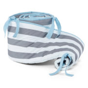 My Baby Sam Chevron Baby in Aqua Crib Bumper