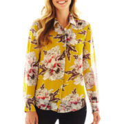 Liz Claiborne Long-Sleeve Button-Front Blouse with Cami - Talls