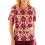 Alfred Dunner® Circle Oaks Medallion Accordion Knit Top - Plus